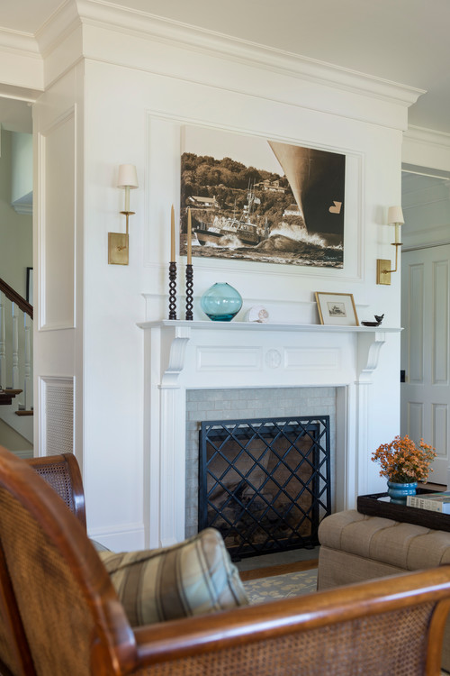 White Fireplace and Mantel in Coastal Style Living Room