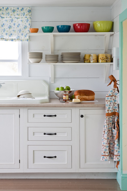 Colorful Farmhouse Kitchen with Fiestaware