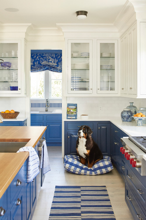 Colorful Kitchen in Blue and White