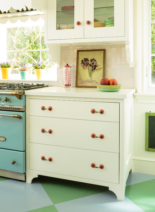 Cottage Style Colorful Kitchen with Aqua Stove