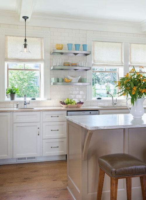 White Beach Style Kitchen with Island