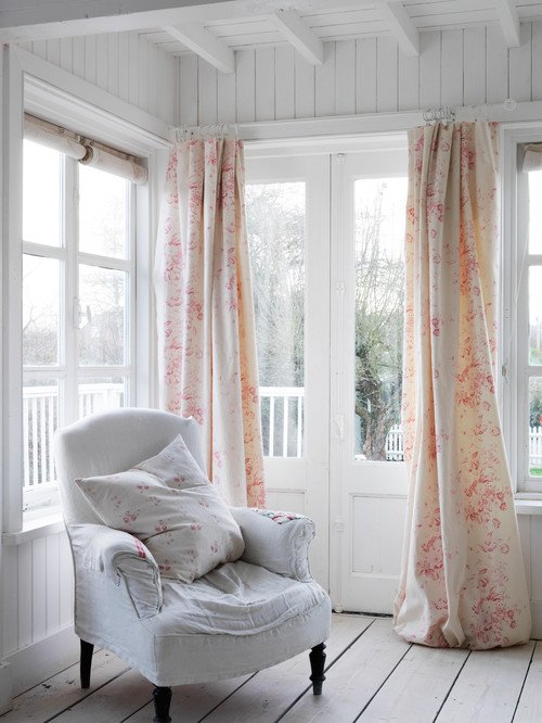 Shabby Chic Living Room with Chintz Curtains