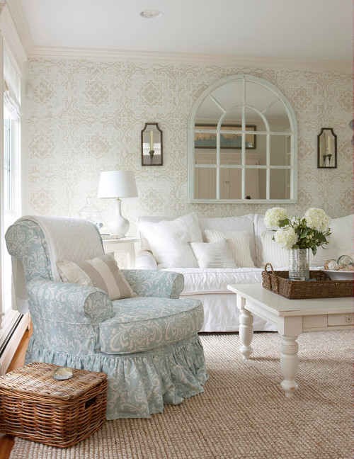 White and Pastel Living Room with White Coffee Table