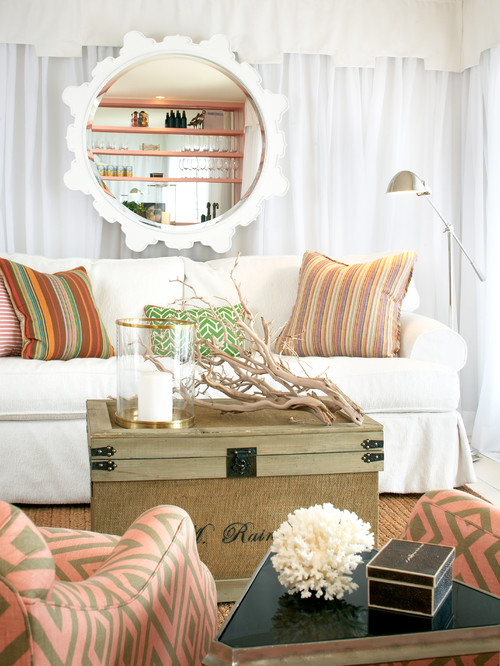 Beach Style Living Room with Trunk for Coffee Table