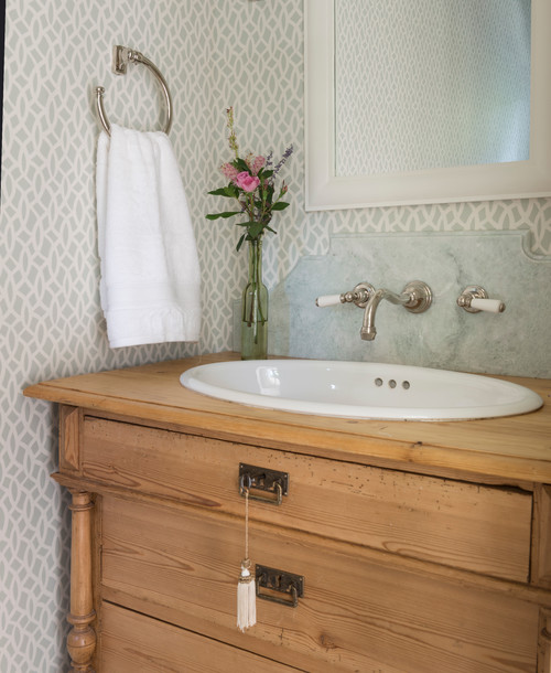 Powder Room with Antique Vanity and Blue Wallpaper