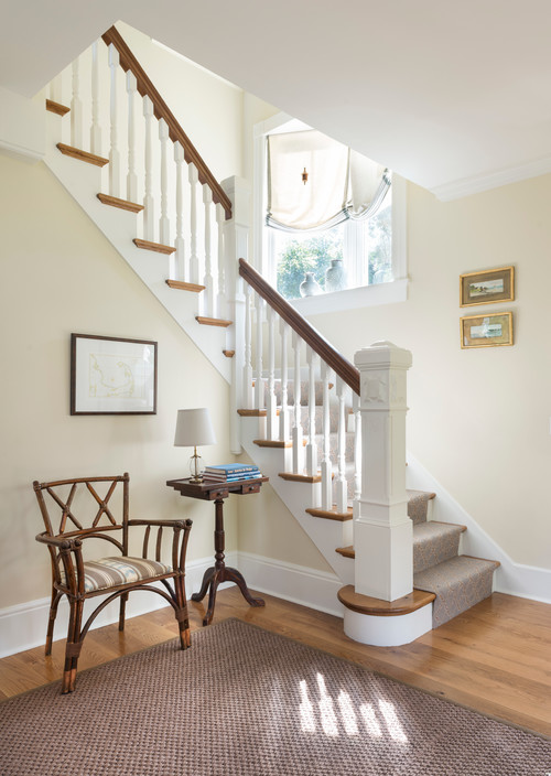 Beach Style Entryway with Staircase