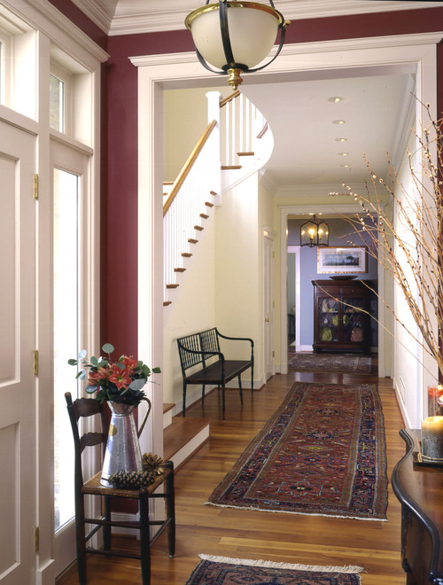 Burgundy walls in entryway
