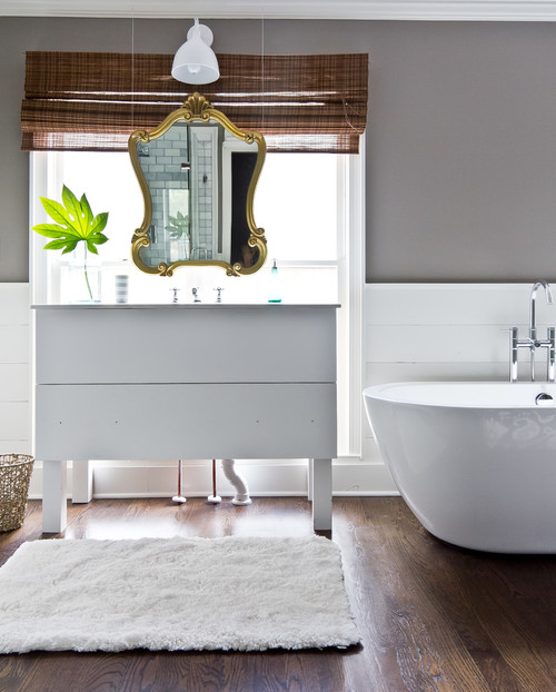 Contemporary Bathroom with Gilded Mirror