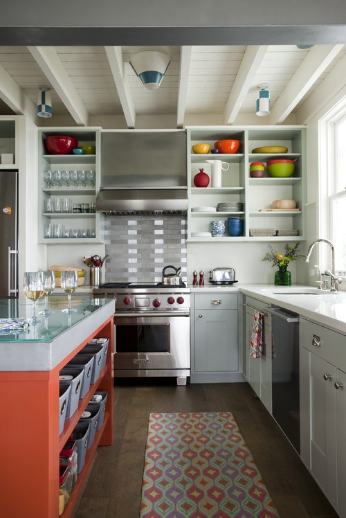 Orange Kitchen Island in Eclectic Kitchen