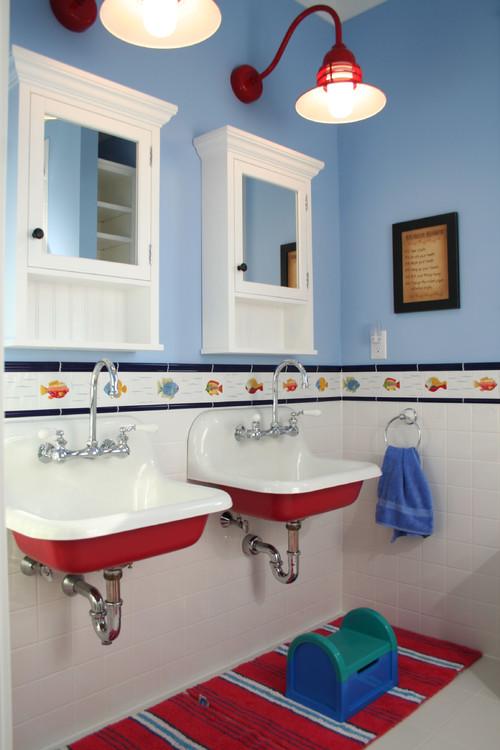 Red Decorating in Children's Bathroom