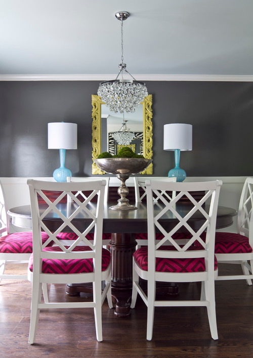 Gray Dining Room with White Chairs and Raspberry Cushioned Seats