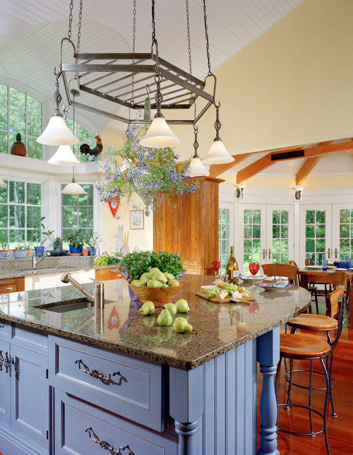 Traditional Kitchen with Periwinkle Kitchen Island
