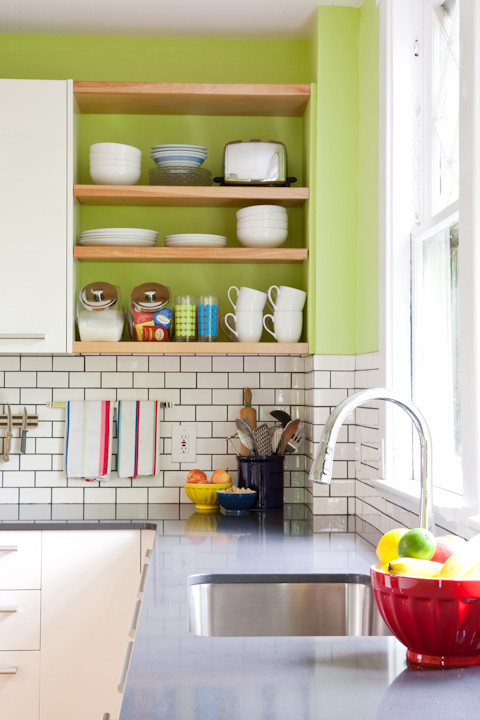 Apple Green Walls in a Charming Kitchen