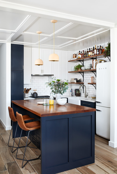 Navy and White Cabinets in a Small Kitchen