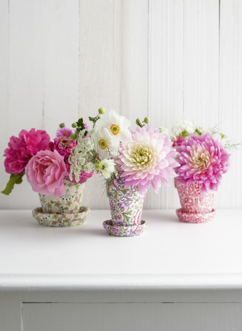 Pretty Pink Flowers in Decoupage Garden Pots