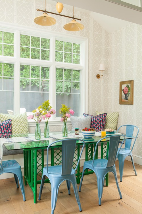 Sweet Summer Flowers in Colorful Dining Room