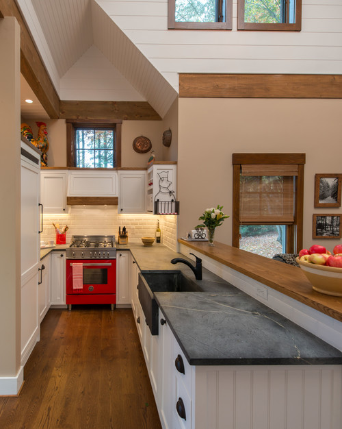 Farmhouse Kitchen with Red Stove