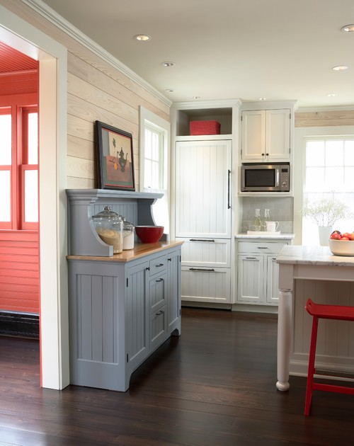 Farmhouse Kitchen with Accents of Red and Gray