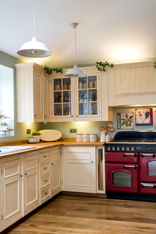 Burgundy Kitchen Appliance in Country Kitchen