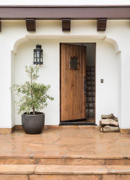 Mediterranean Style Porch and Entryway