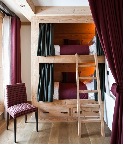 Burgundy Bedroom with Built-in Bunk Beds