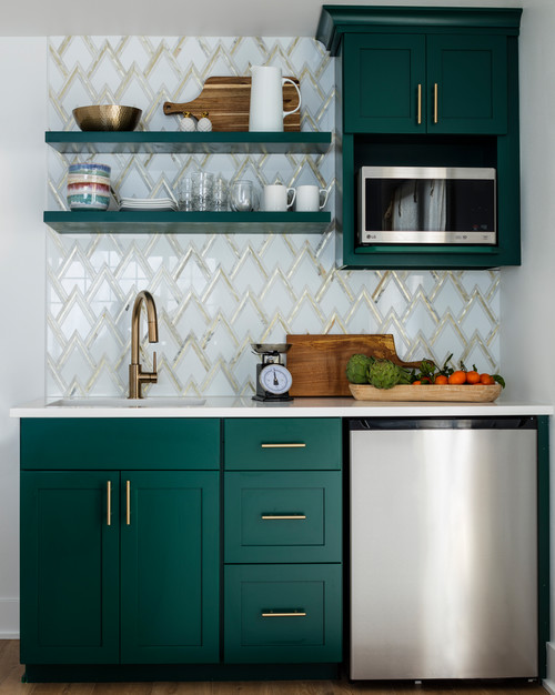 Fun Kitchen Cabinet Color in Guest House