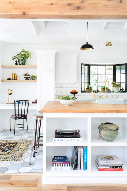 White and Wood Scandinavian Style Kitchen