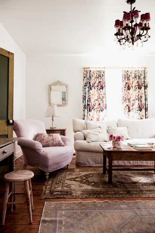 Shabby Chic Living Room with Prairie Style