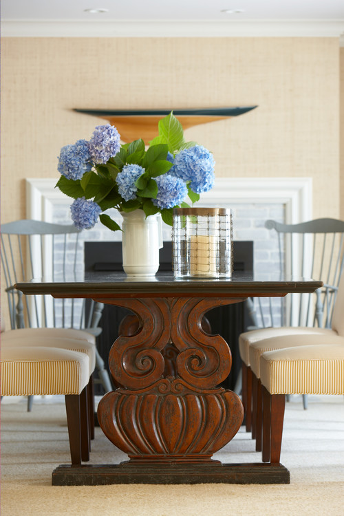 Blue Hydrangeas in White Pitcher