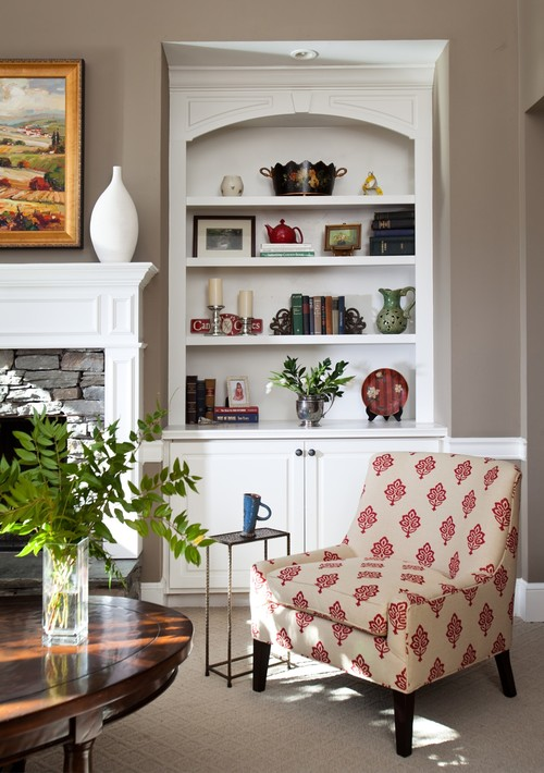 Red and Tan Upholstered Chair in Traditional Living Room