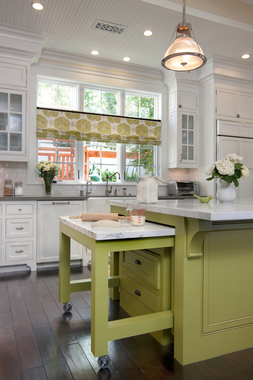 White Classic Kitchen with Apple Green Kitchen Island