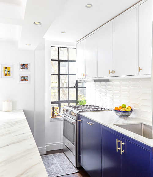 Apartment Kitchen in Blue and White