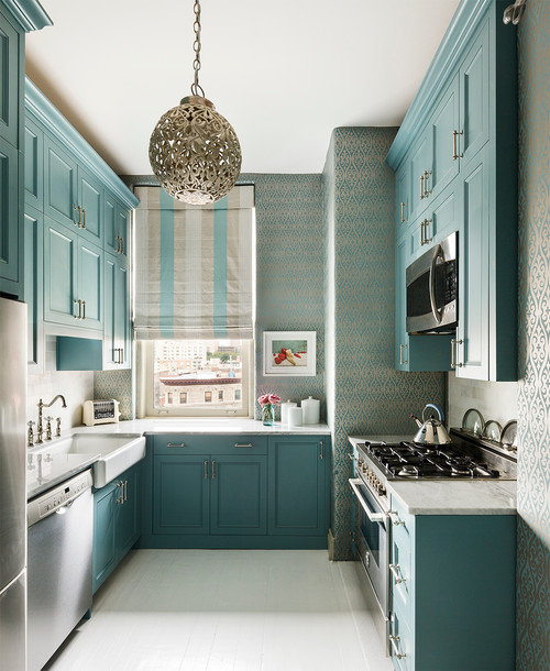 Pale Turquoise Kitchen in a City Condo