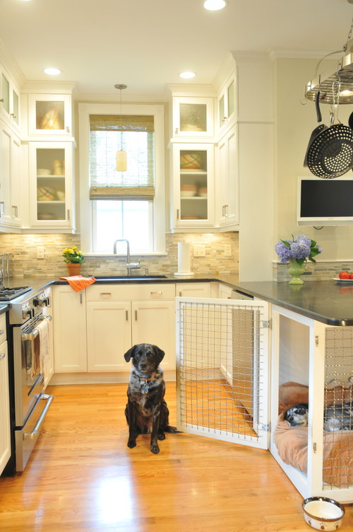 Unique Kitchen Peninsula with Built-In Dog Crate