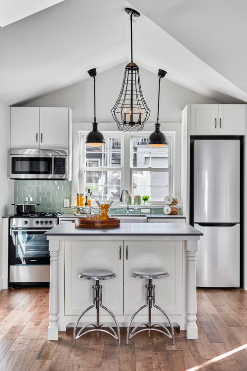 Small Farmhouse Kitchen with Vaulted Ceiling and Custom Appliances