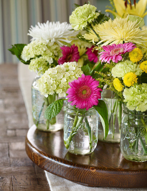 Cheery Summer Flowers in Mason Jars