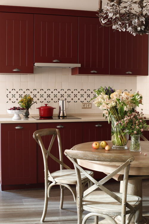 Burgundy Kitchen Cabinets in Breakfast Nook