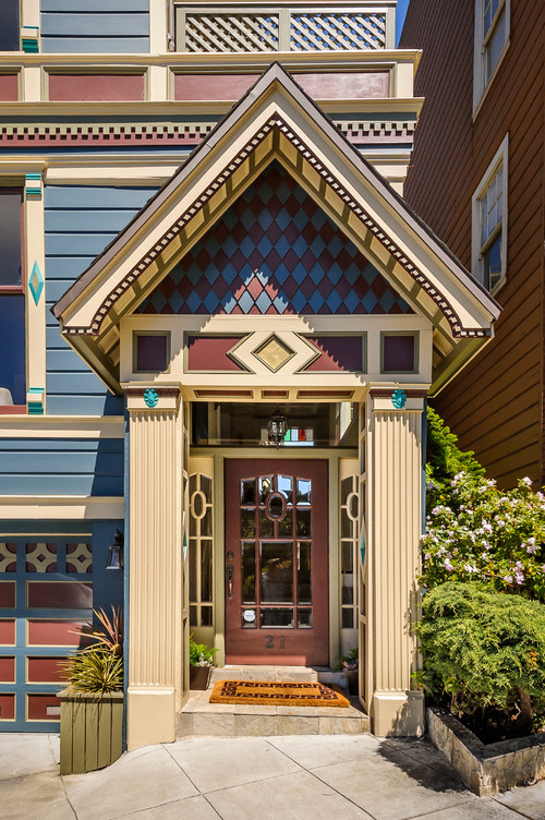 Detailed Entryway of Blue Victorian House