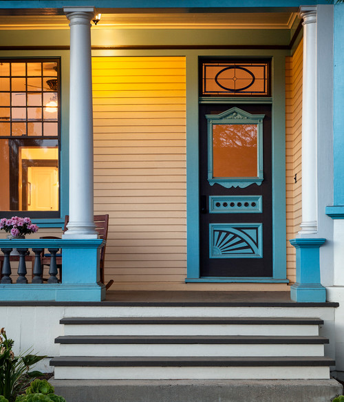 Blue Front Door on Victorian Porch