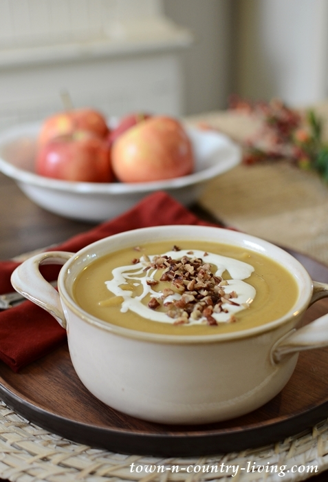 Roasted Apple Butternut Squash Soup with Creme Fraiche
