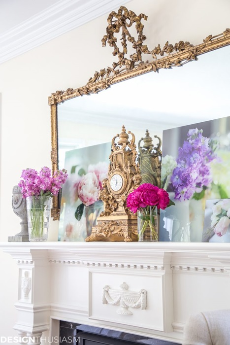 Vintage Finds and Flowers on Mantel - Designthusiasm