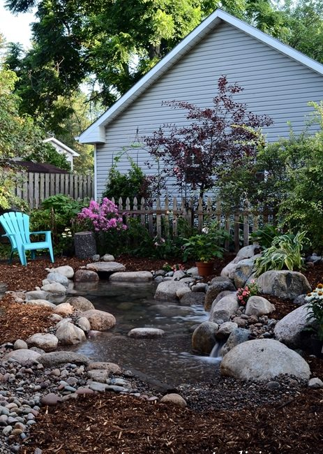 Backyard Garden Pond with Pebble Beach
