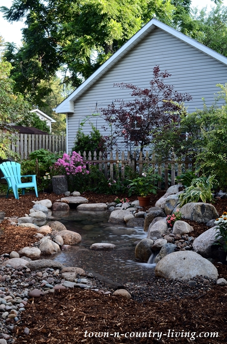 Backyard Garden Pond with Pebble Beach