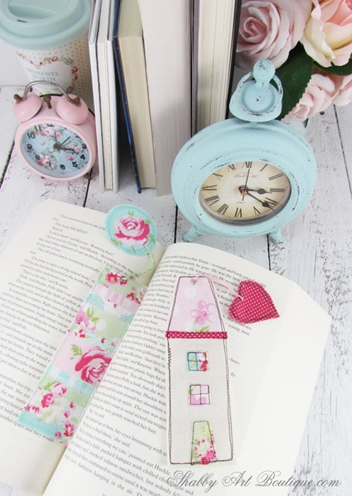 Scrap Fabric Book Marks by Shabby Art Boutique