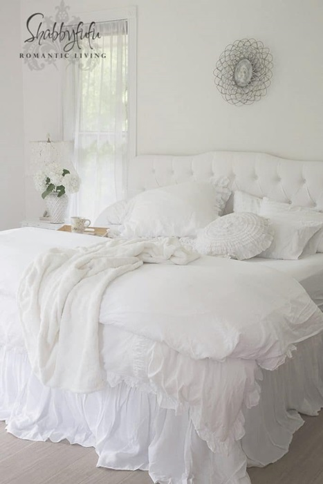 Beautiful White Romantic and Shabby Chic Bedroom by Shabbyfufu