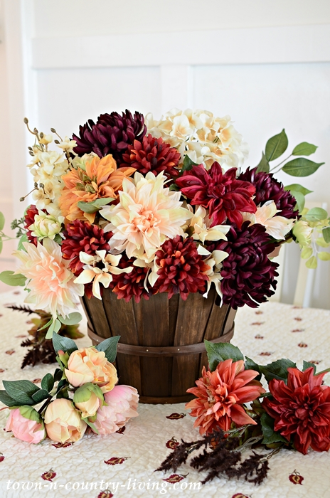 Faux Silk Fall Flowers in a Basket
