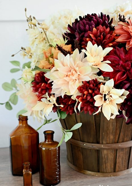 Dahlias, Mums, Daisies, and Eucalyptus Create a Beautiful Fall Flower Arrangement