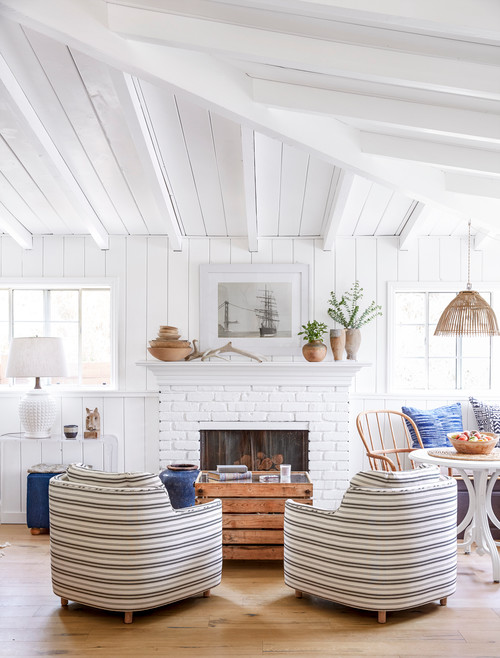 Coastal Living Room with White Wood Vaulted Ceiling
