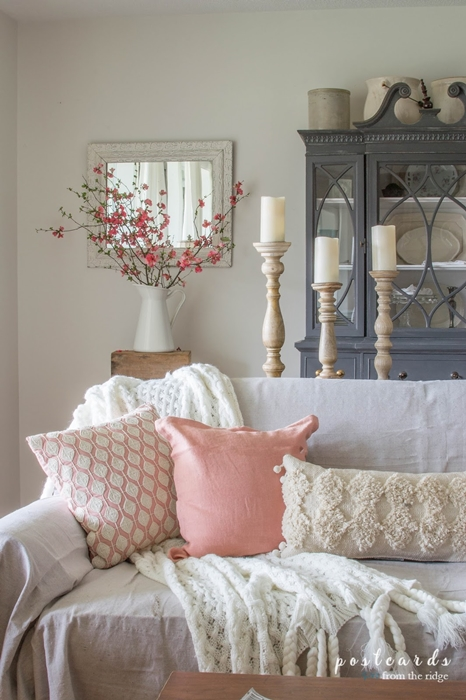 Pink Accents in the Living Room by Postcards from the Ridge
