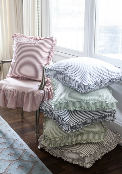 Ruffled Ticking Stripe Pillows by Cedar Hill Farmhouse